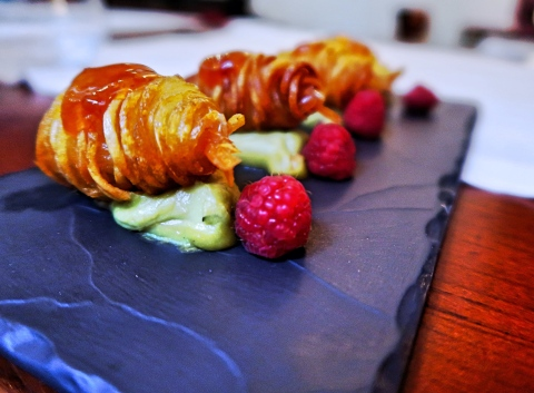 Prawns wrapped in potato with guacamole